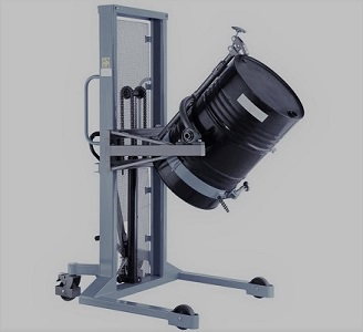 Hydraulic drum lifter, A specialized hydraulic stacker from the COT series from TechTop.One  Developed for lifting, transporting and turning over drums. The special design of the drum stacker enables you to pick up and lift the standing drum at the desire
