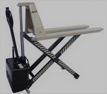 Scissor lift truck, The HLS pallet truck is equipped with a scissor mechanism for lifting up to a height of 800 mm. The lifting device facilitates loading and unloading from the ramp or from the car.  The scissor lift truck has a hydraulic unit that offer