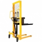 Preview: HANDLED FORKLIFT, HIGH-LIFTING WAGON WMS 500KG, 1.6 M, ​Fork roller size, mm: 80x36 Lifting speed, mm / s: 16 Turning radius, mm: 1590 Working cylinder diameter, mm: 70 Housing metal thickness, mm: 5 Spring diameter, mm: 45 Feather thickness, mm: 5 Record