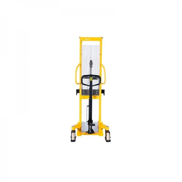 HANDLED FORKLIFT, HIGH-LIFTING WAGON WMS 500KG, 1.6 M, ​Fork roller size, mm: 80x36 Lifting speed, mm / s: 16 Turning radius, mm: 1590 Working cylinder diameter, mm: 70 Housing metal thickness, mm: 5 Spring diameter, mm: 45 Feather thickness, mm: 5 Record