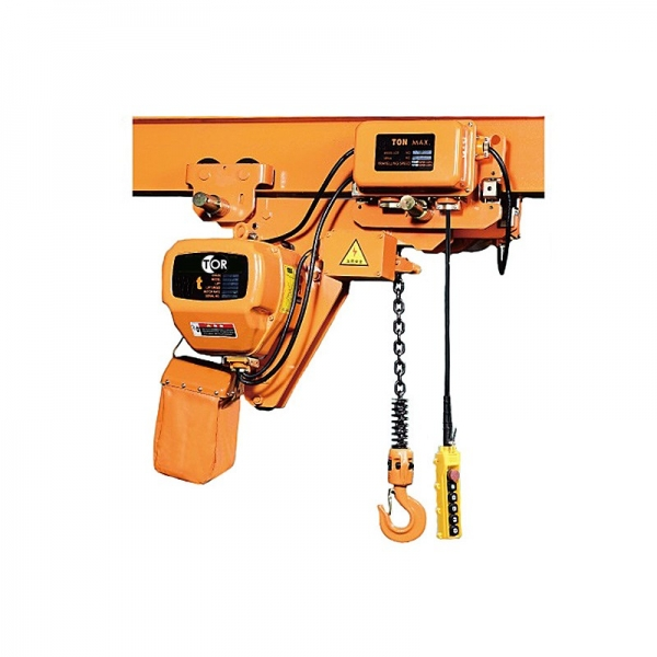ELECTRIC CHAIN HOIST WITH TROLLEY HHBBSL01-01, CAPACITY 1 T, 6 M, Lifting speed, m / min: 6.8 Travel speed, m / min: 12 Bar, mm: 58-153 Chain diameter, mm: 7.1 Motor power, kW: 1.5 Load capacity, kg: 1000 Lifting height, mm: 6000 Voltage, V: 380