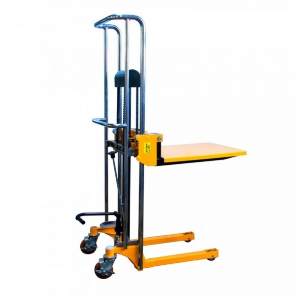 Hydraulic hand stacker with platform PJ4150, 400 kg x 1500 mm, 580 x 650 mm, The manual mast trolley with a load capacity of 400 kg, supplemented by fixed forks and a platform, enables work with loads of different sizes. The mast is made of high quality s