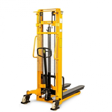 HAND STACKER, HIGH-LIFTING WAGON WMS 1500 KG, 1.6 M, Fork roller size, mm: 80x36 Lift speed, mm / s: 12 Turning radius, mm: 1590 Working cylinder diameter, mm: 70 Housing metal thickness, mm: 5 Spring diameter, mm: 45 Feather thickness, mm: 5 Recording he