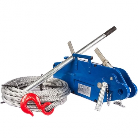 HAND ROPE WINCH, LEVER WINCH ZNL 800, 800 KG, ROPE LENGTH 20 M, The cable winch is a compact manual lifting device for various applications. It is not only suitable for lifting and lifting, but also for lowering, tensioning, stretching and securing loads.